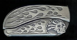 Flame Flame Skull Belt Buckle Knife!