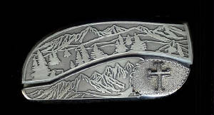 Mountain Tree Scene Sterling Silver Cross Belt Buckle Knife!
