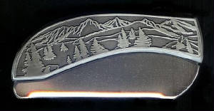 Bucklehead Mountain Tree Scene Plain Belt Buckle Knife