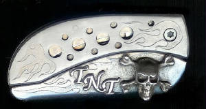 Engraved Flame With Sterling Silver Initials TNT & Skull & Crossbones Belt Buckle Knife