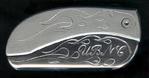 Engraved Flame With Initials UNBC Belt Buckle Knife!