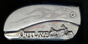 Engraved Flame With Sterling Sliver Outlaw & Motorcycle Belt Buckle Knife