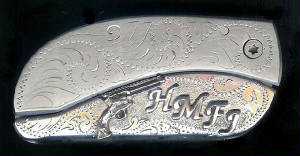 Engraved Scroll With Sterling Silver Six-Gun + 4 Initials Belt Buckle Knife