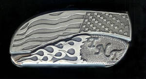 www.Bucklehead.com Flag Flame With Sterling Silver TNT Or Add Your Own Initials