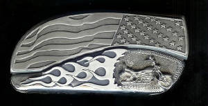 www.beltbuckleknife.com Flag Flame With Sterling Silver Motorcycle Belt Buckle Knife
