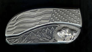 www.Bucklehead.com Flag Tree Scene With Sterling Silver Buffalo Belt Buckle Knife