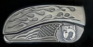 www.Bucklehead.com Flame Flag POW Belt Buckle Knife