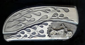 Custom Flame Flame Sterling Silver Motorcycle Belt Buckle Knife!