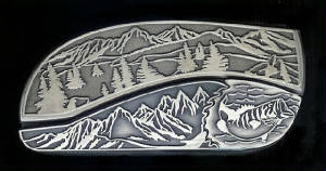Mountain Tree Scene Bass Belt Buckle Knife!