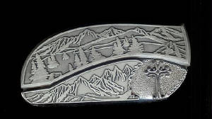 Mountain Tree Scene With Sterling Silver Ornate Cross Belt Buckle Knife!