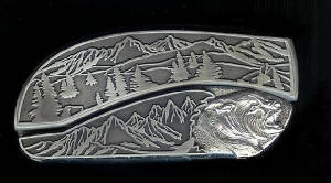 Mountain Tree Scene With Sterling Silver Bear Head Belt Buckle Knife