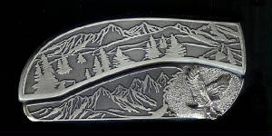Mountain Tree Scene With Sterling Silver Eagle Belt Buckle Knife