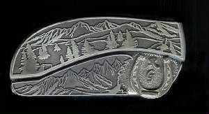Mountain Tree Scene With Sterling Silver RG Initials & Horseshoe Belt Buckle Knife