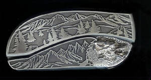 Mountain Tree Scene With Sterling Silver Wolf Belt Buckle Knife